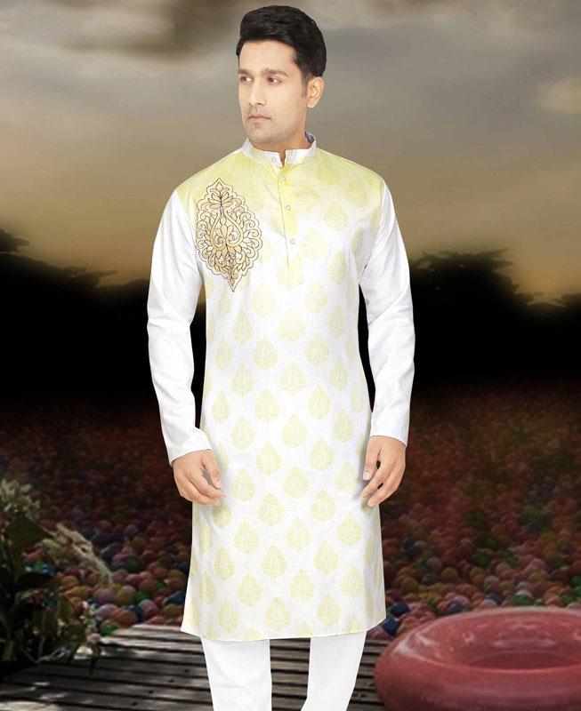 Printed Cotton Yellow Kurta Pajama