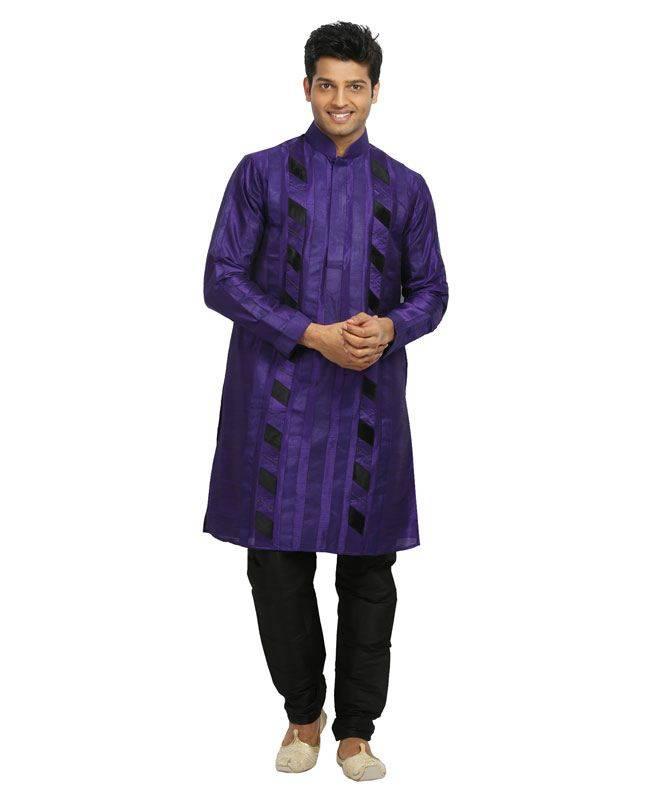 Crystals Raw Silk Purple Mens Kurta Pajama