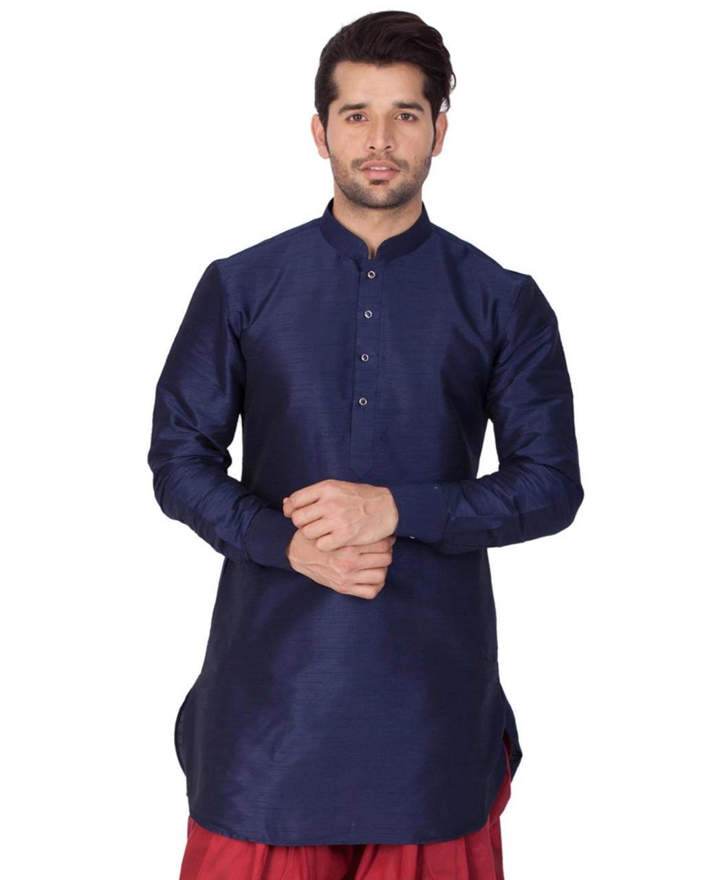 Plain Cotton Navyblue Kurta Pajama