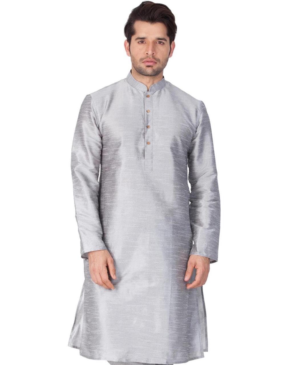 Plain Cotton Gray Kurta Pajama