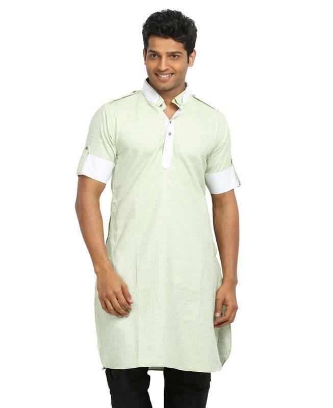 Lace Cotton Green Mens Kurta Pajama