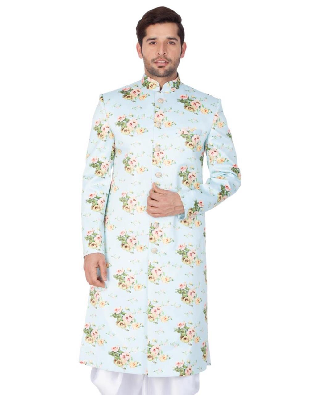 Floral Print Blended Cotton MINTCREAM Kurta Pajama