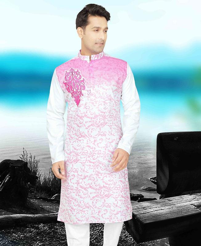 Printed Cotton Pink Kurta Pajama