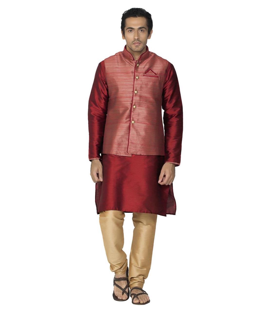 Printed Polyester Red Kurta Pajama