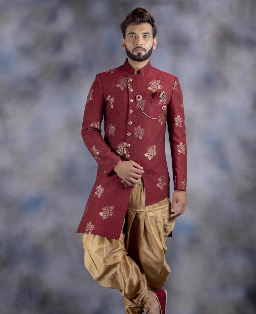 Printed Jacquard Maroon Kurta Pajama