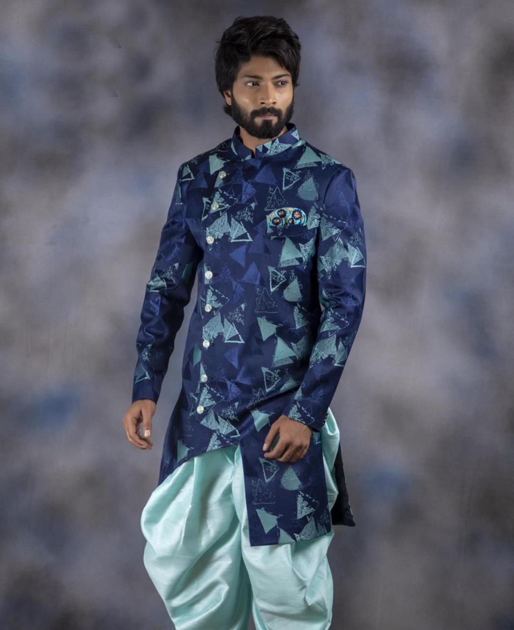 Printed Jacquard Navyblue Kurta Pajama