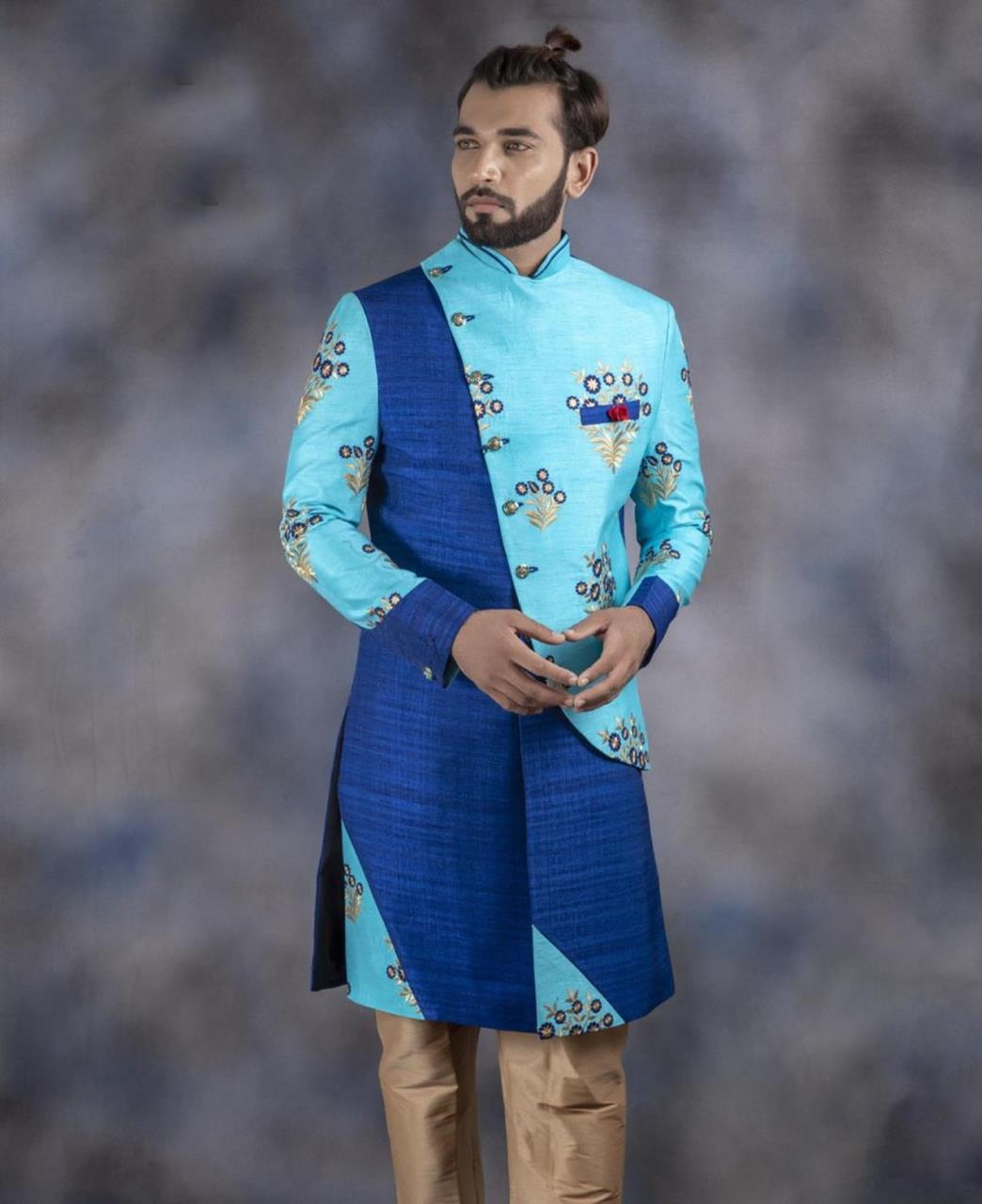 Embroidered Jacquard SKYBLUE Kurta Pajama