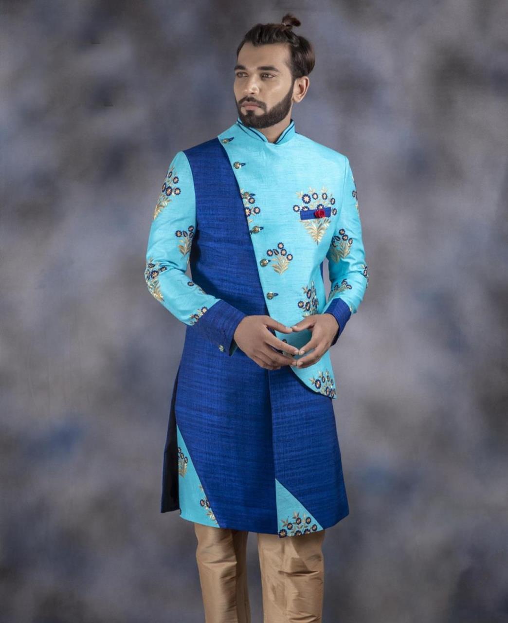 Embroidered Jacquard SKYBLUE Kurta Pajama