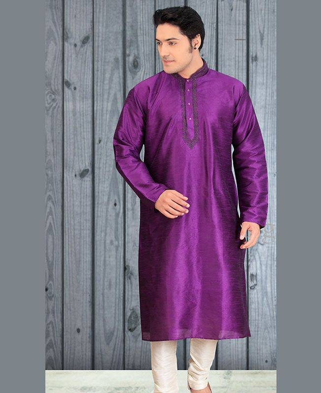 Butta Work Dupion Silk Purple Mens Kurta Pajama