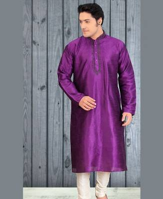 Butta Work Dupion Silk Purple Mens Kurta Pajama