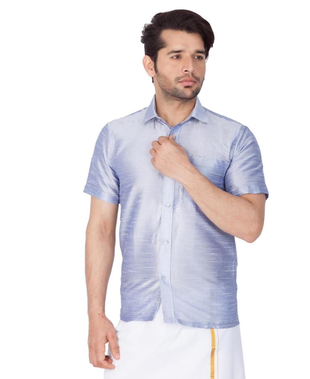Plain Cotton SKYBLUE Dhoti
