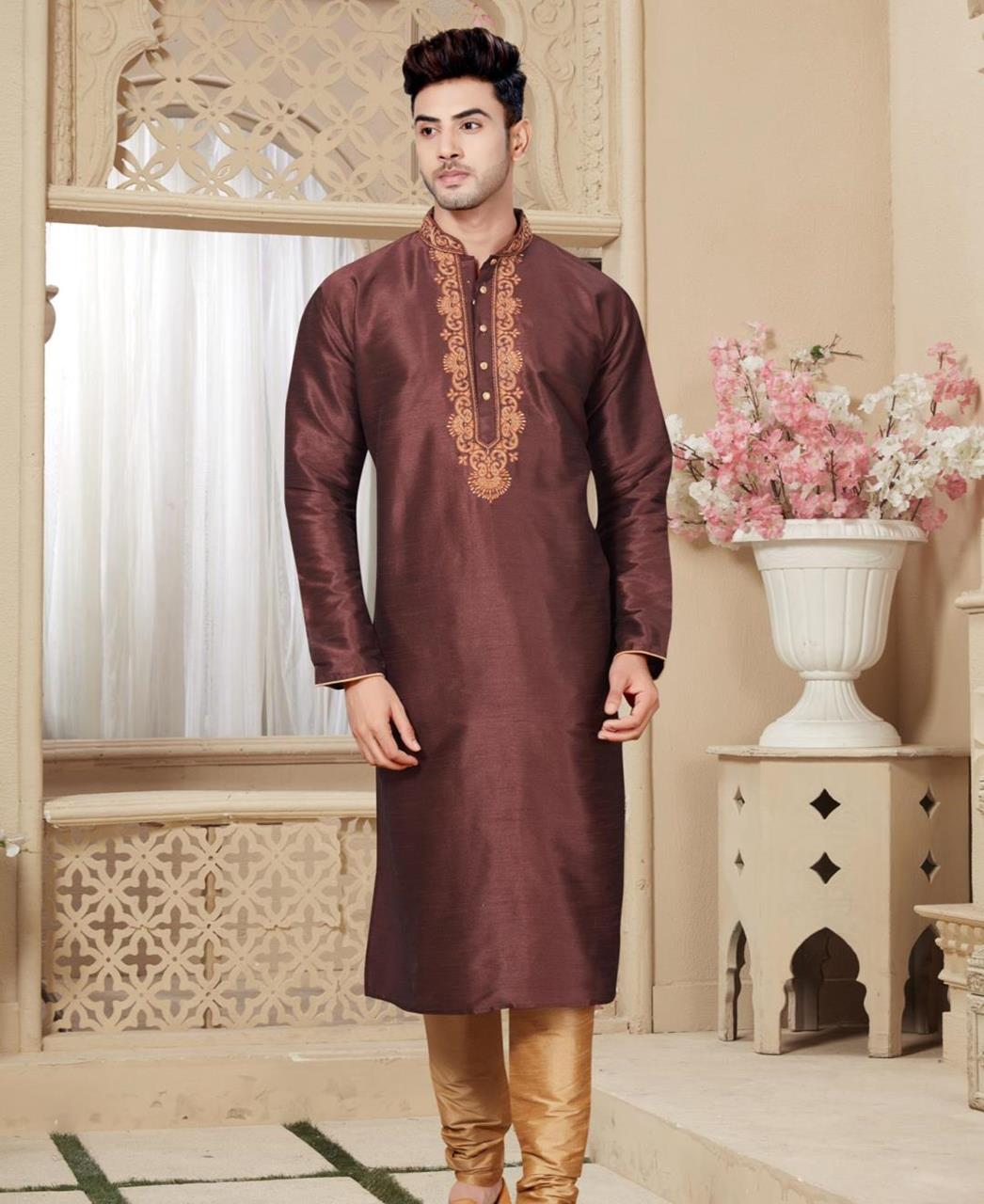 Plain Art Silk Brown Kurta Pajama