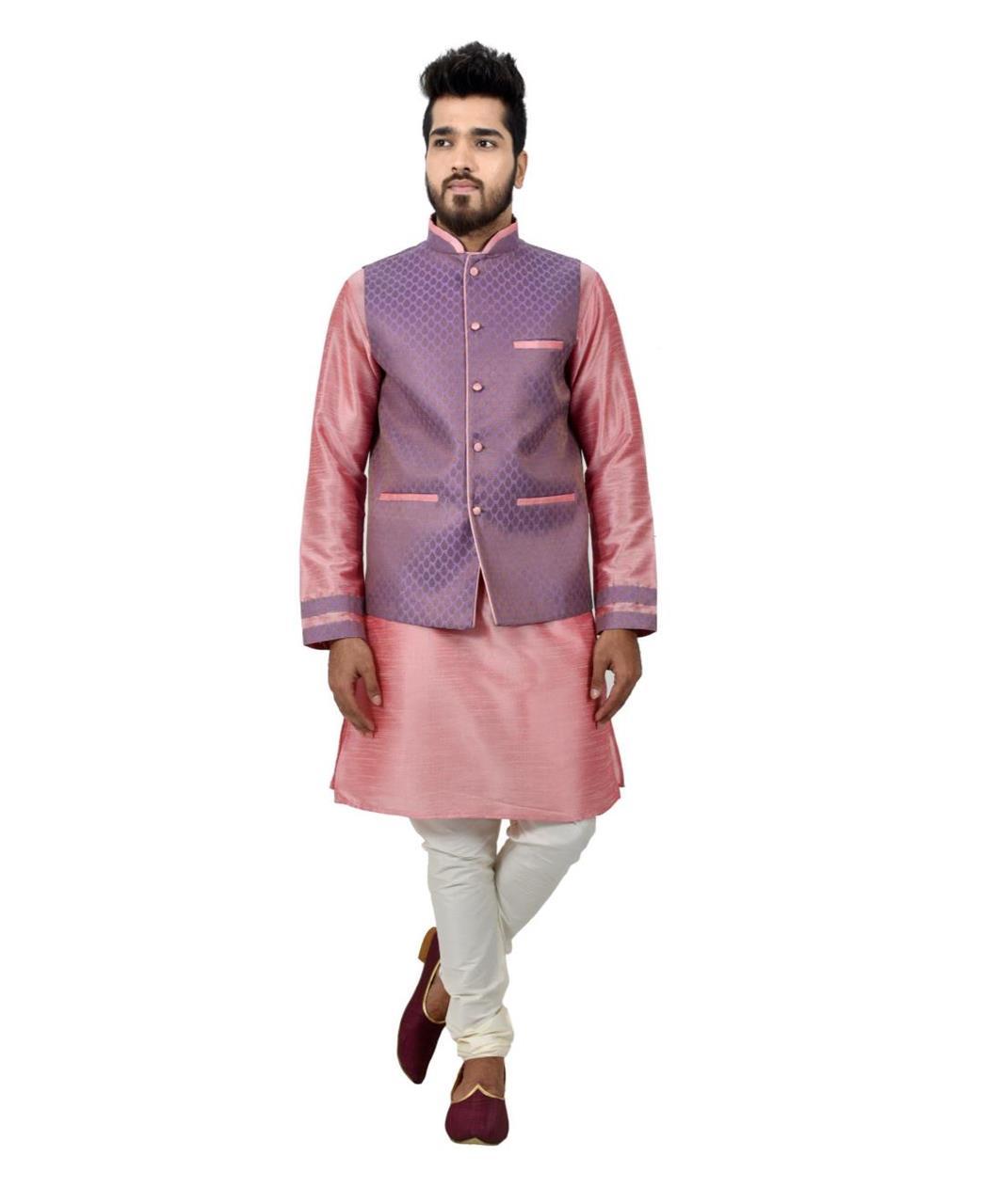 Button Work Art Silk Pink Waist Coats