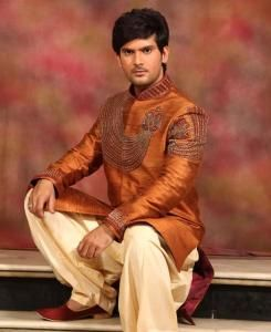Embroidered Silk Orange Sherwani