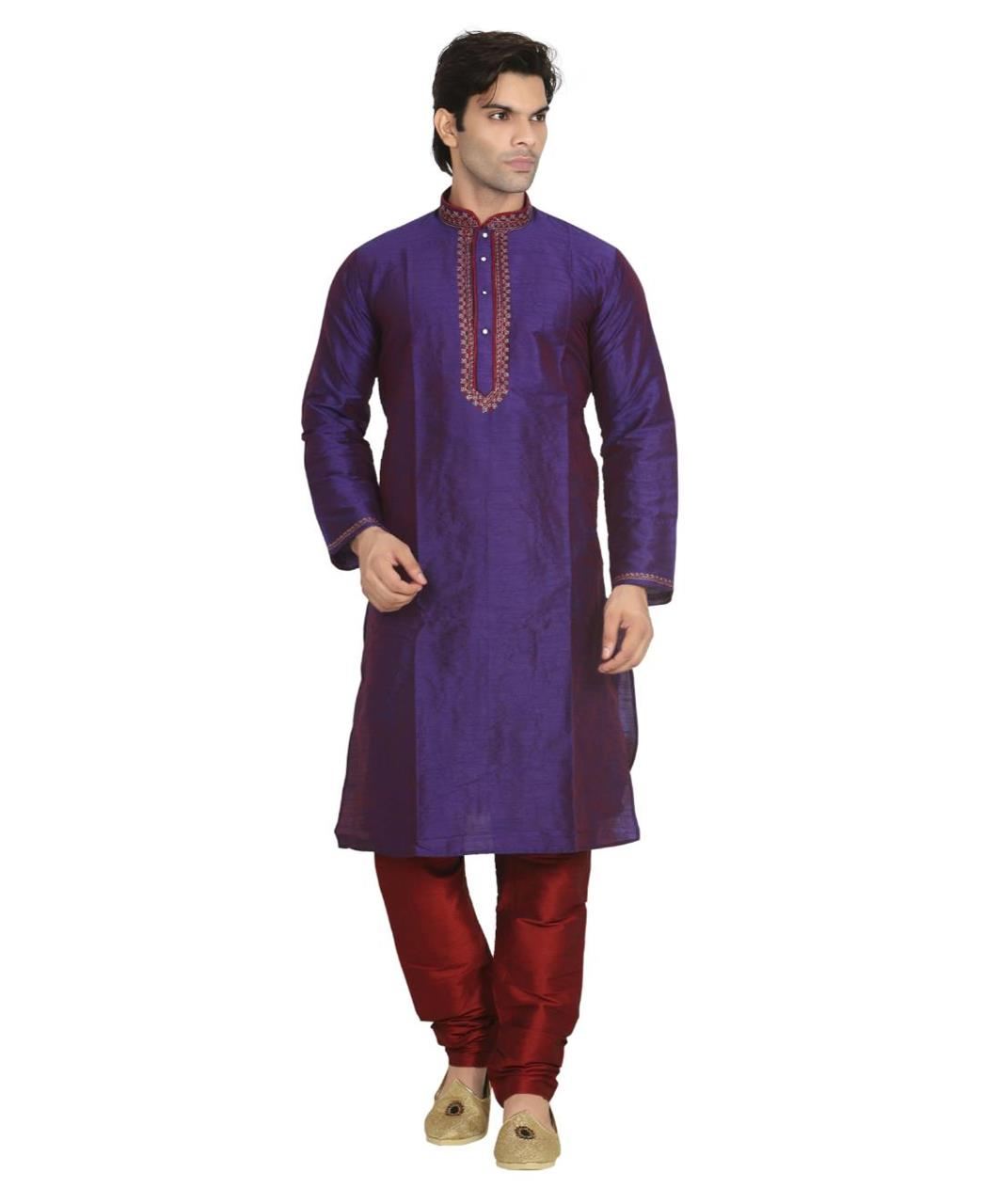 Plain Dupion Silk Blue Kurta