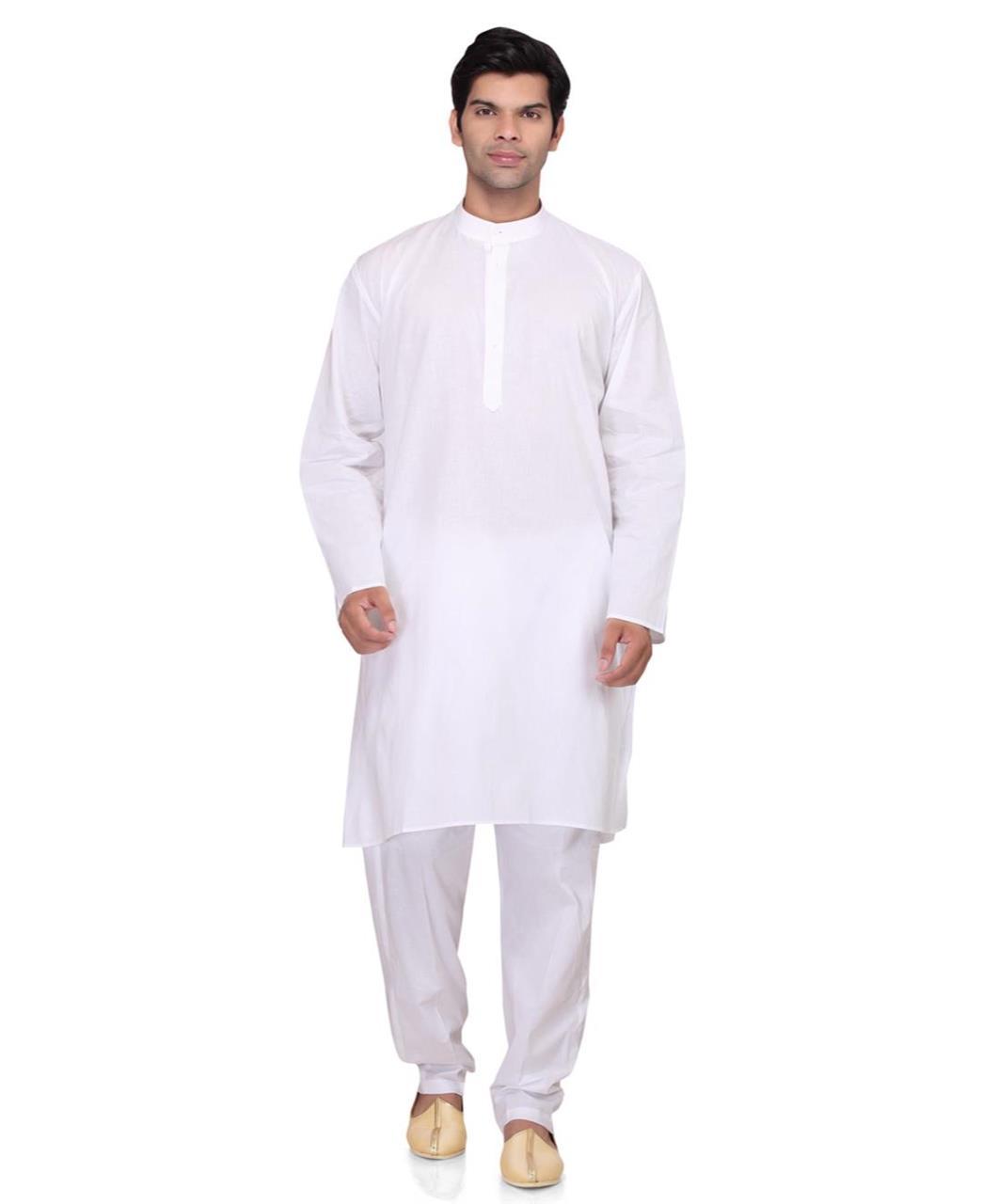 Plain Cotton White Kurta