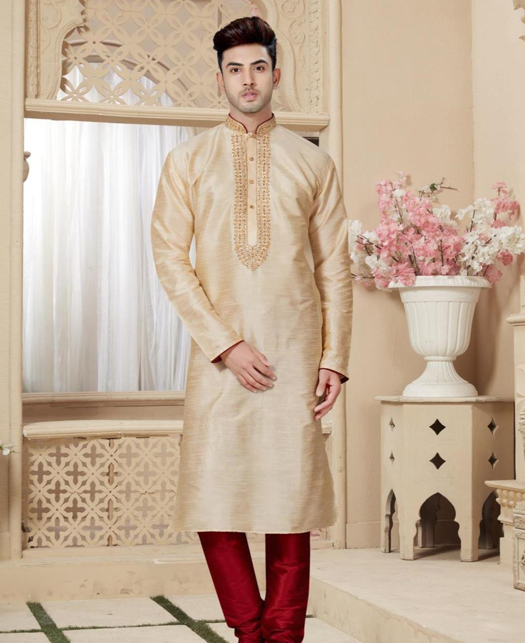Plain Art Silk Gold Kurta Pajama