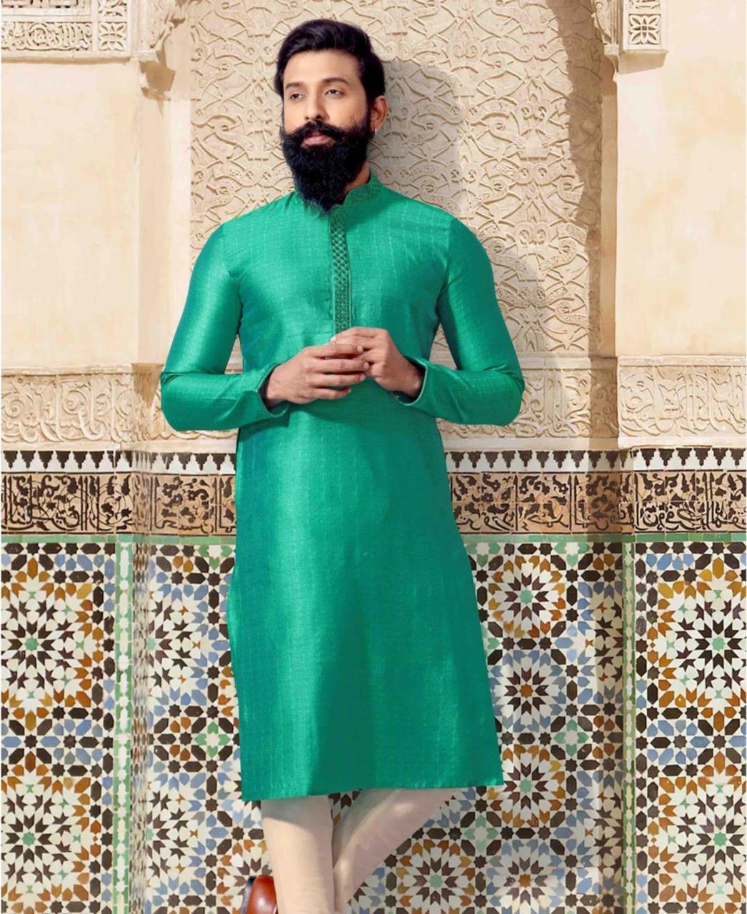 Plain Jacquard Green Kurta Pajama