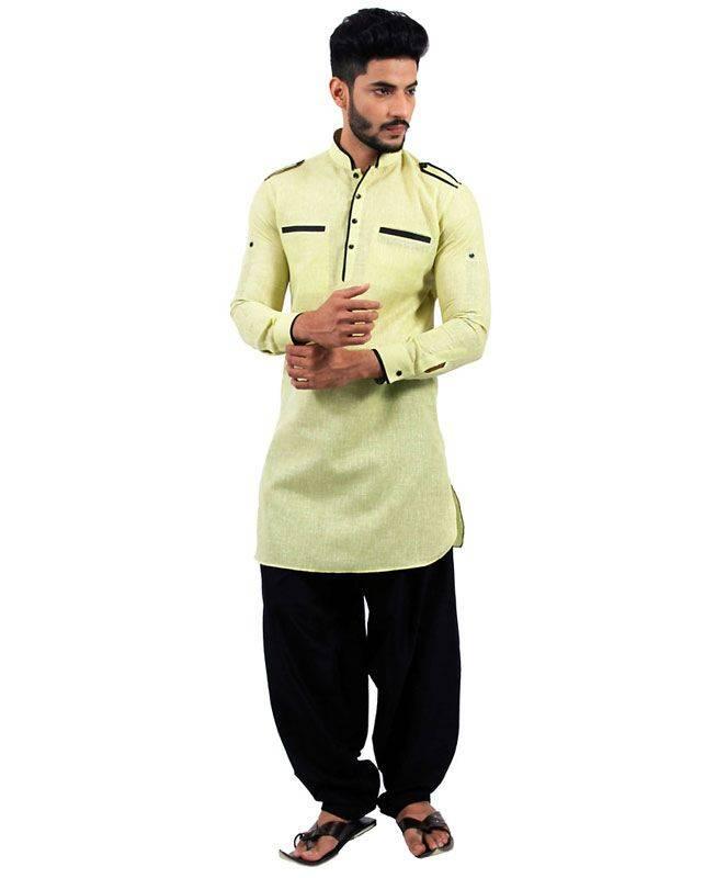 Plain Cotton Yellow Mens Kurta Pajama