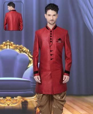 3e26ac60a63 Plain Jute Silk Maroon Sherwani
