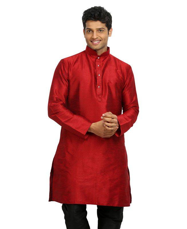 Plain Silk Red Mens Kurta Pajama