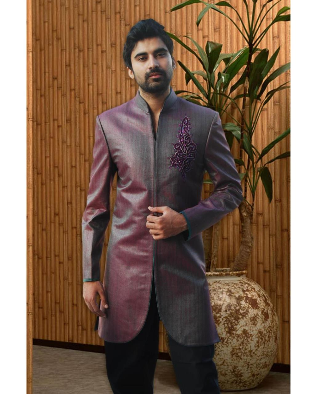 Embroidered Cotton Purple Coats