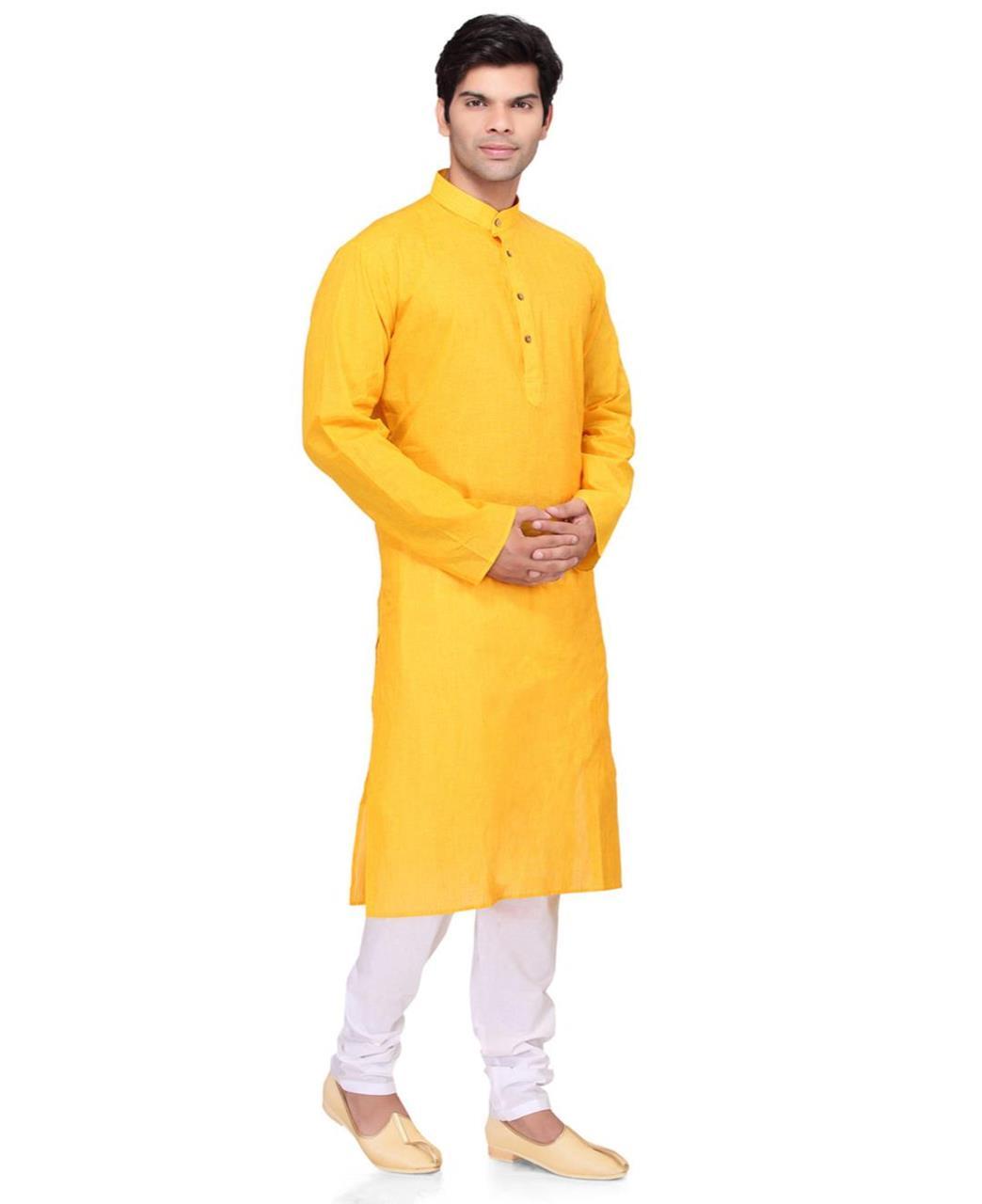 Plain Cotton Yellow Kurta