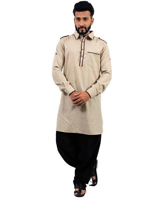 Plain Cotton Brown Mens Kurta Pajama