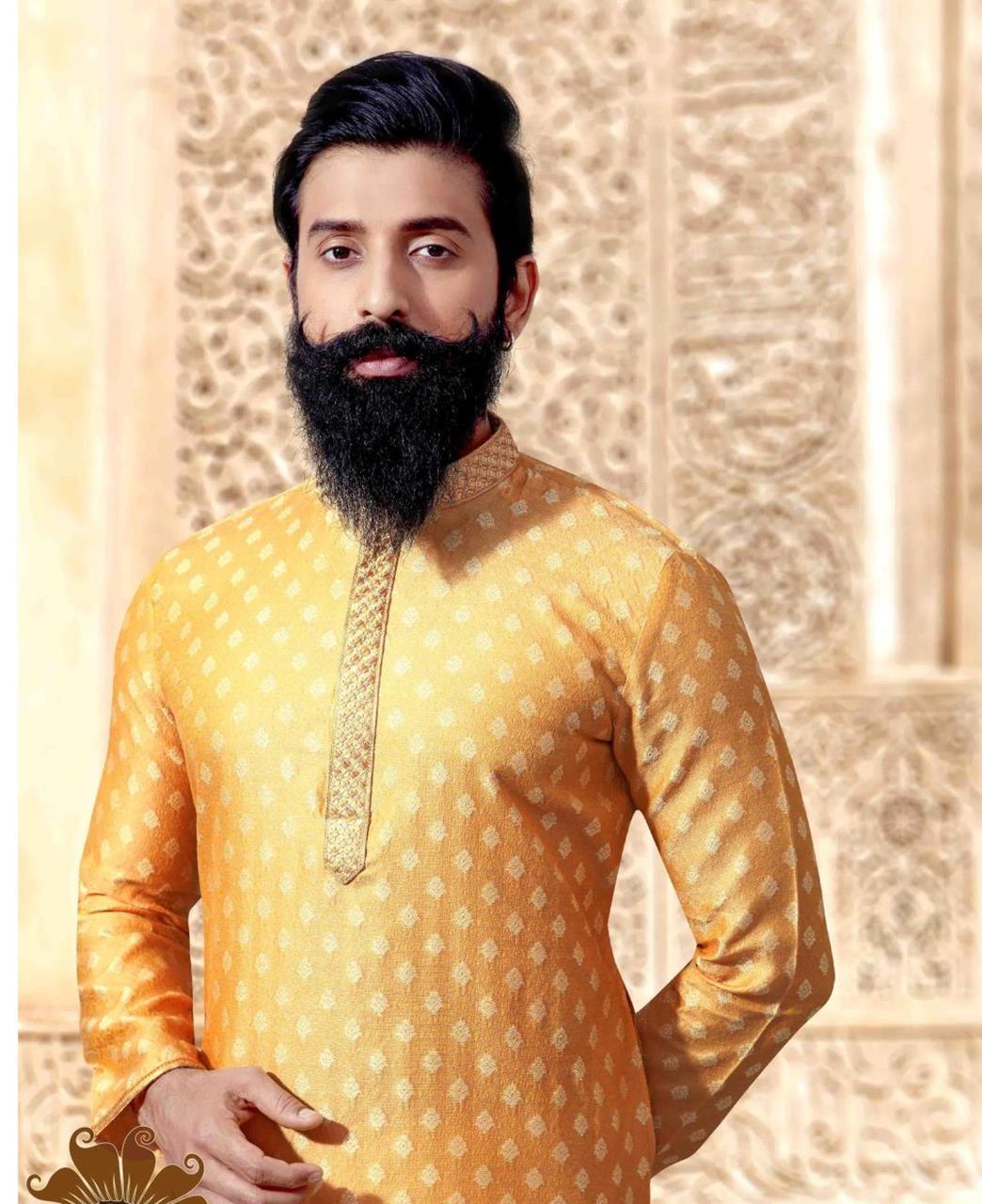 Printed Jacquard Yellow Kurta Pajama