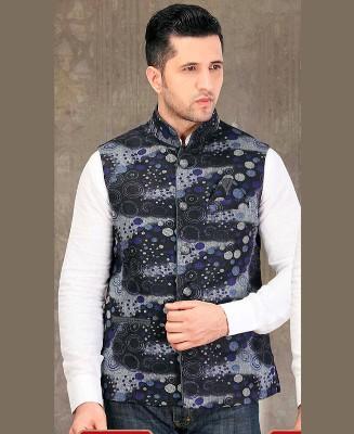 Thread Work Jute Silk White Mens Waist Coat