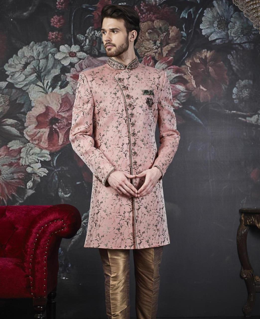 Embroidered Jacquard Pink Kurta Pajama