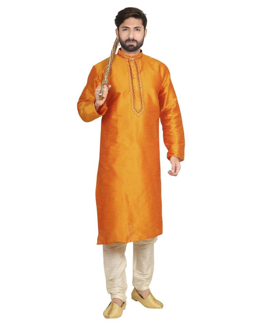 Plain Dupion Silk Orange Kurta