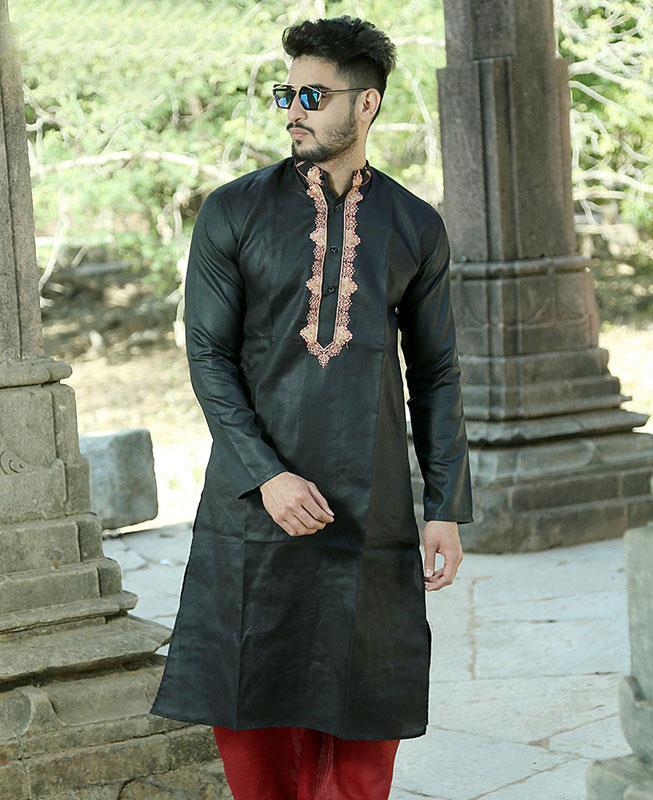 Embroidered Cotton Black Kurta Pajama