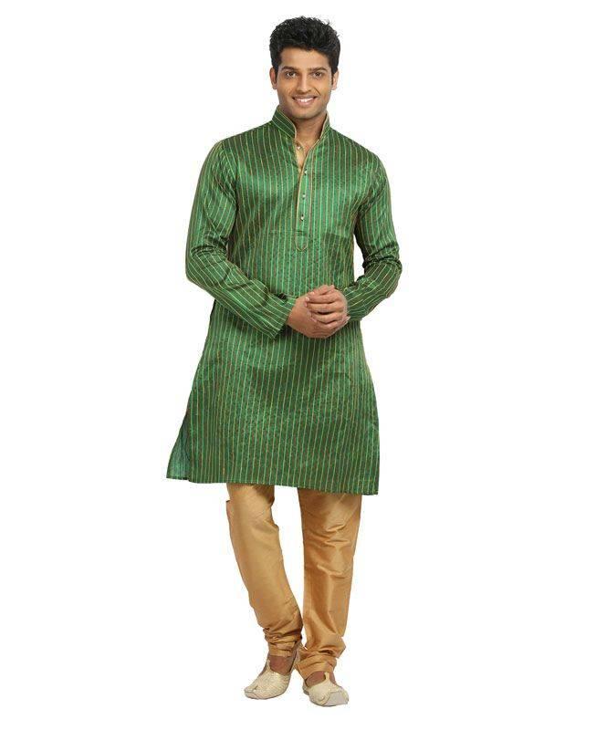 Resham Silk Green Mens Kurta Pajama