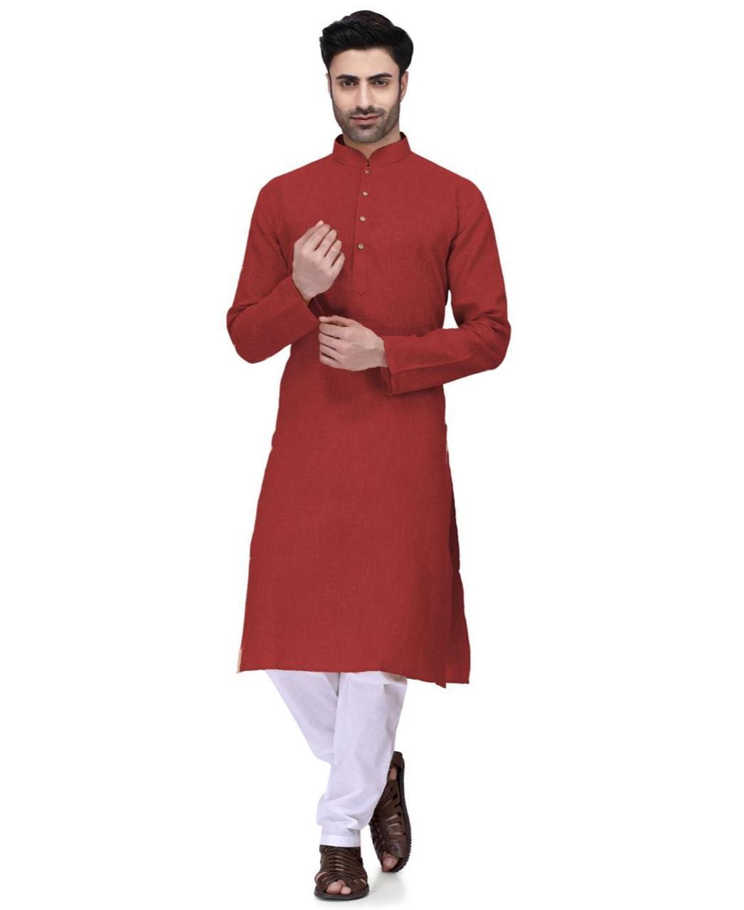 Plain Cambric Cotton Red Kurta Pajama