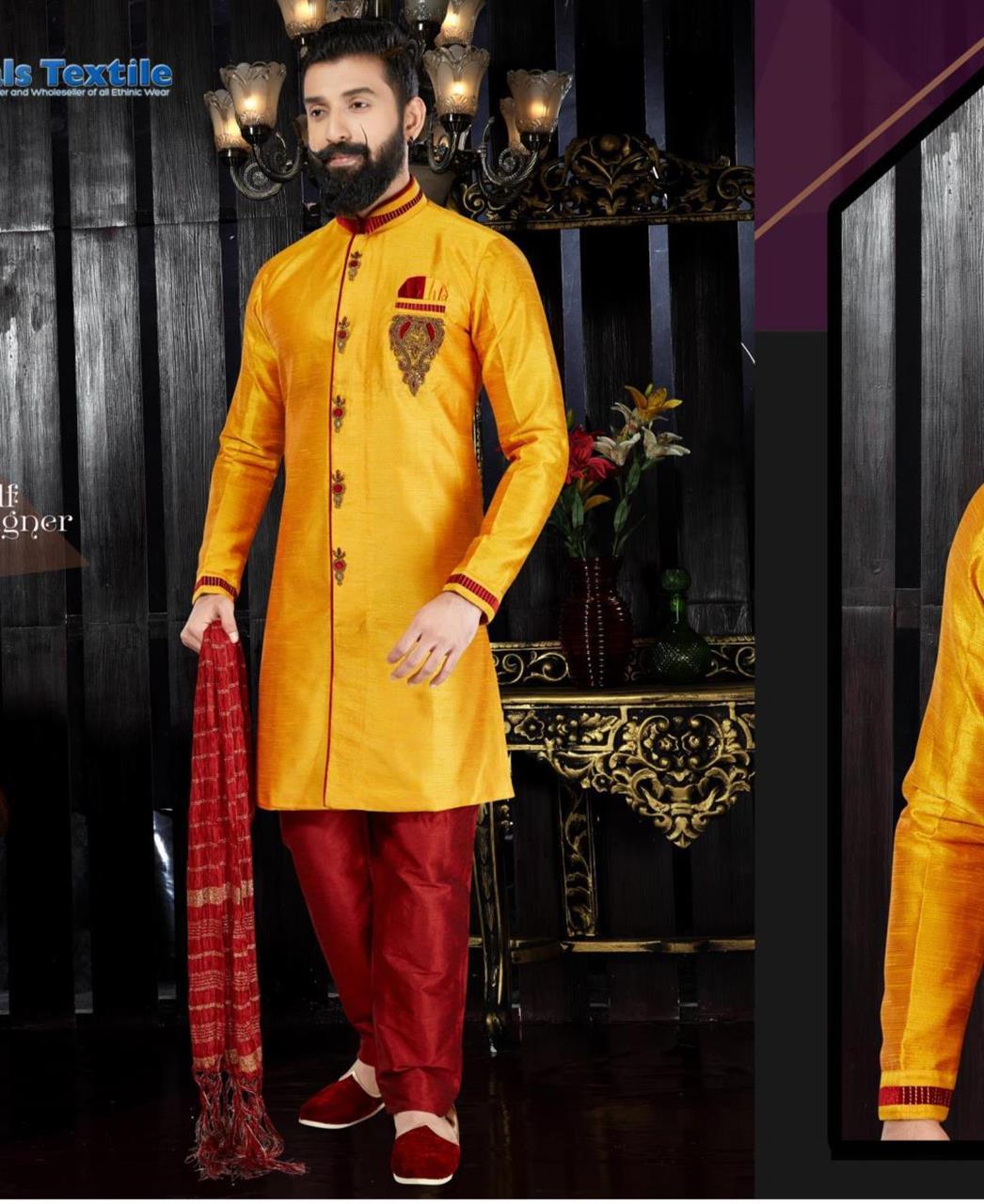 Embroidered Silk Yellow Sherwani