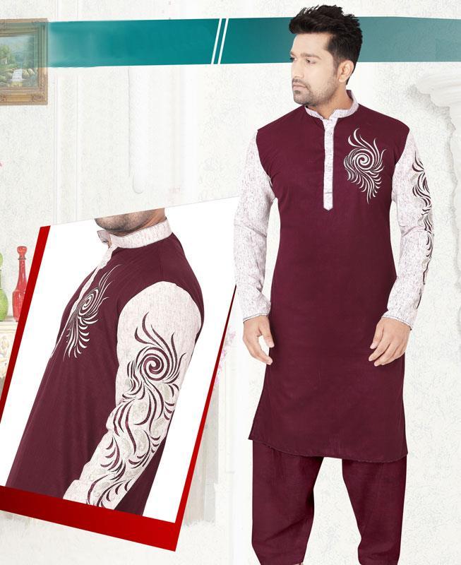 Embroidered Cotton Maroon Kurta Pajama