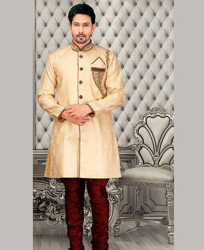 Beads Jacquard Cream Mens Sherwani