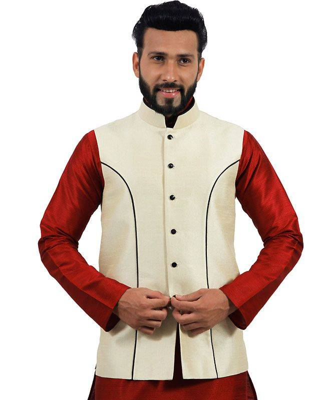 Plain Raw Silk Cream Mens Waist Coats