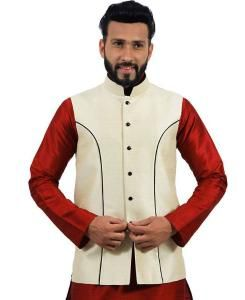 Plain Raw Silk Cream Mens Waist Coats
