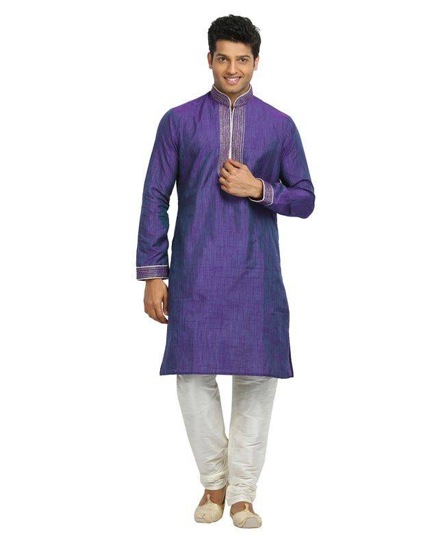 Crystals Linen Purple Mens Kurta Pajama
