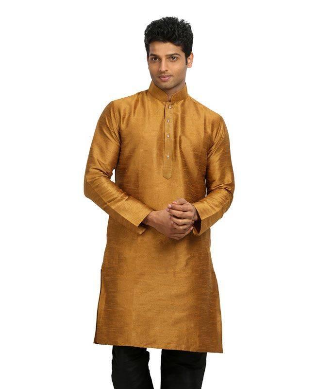Plain Silk Brown Mens Kurta Pajama