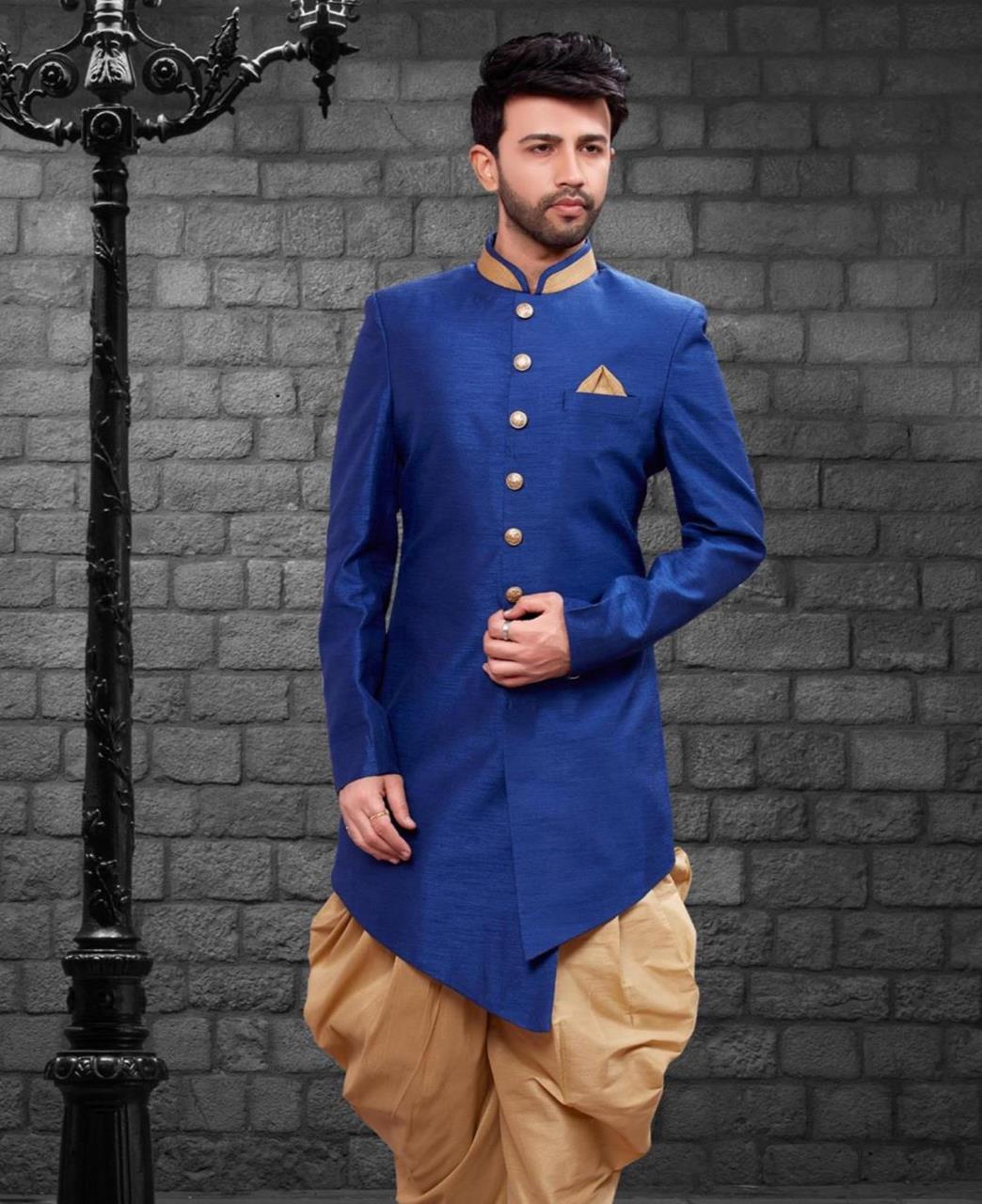 Plain Silk Blue Kurta Pajama