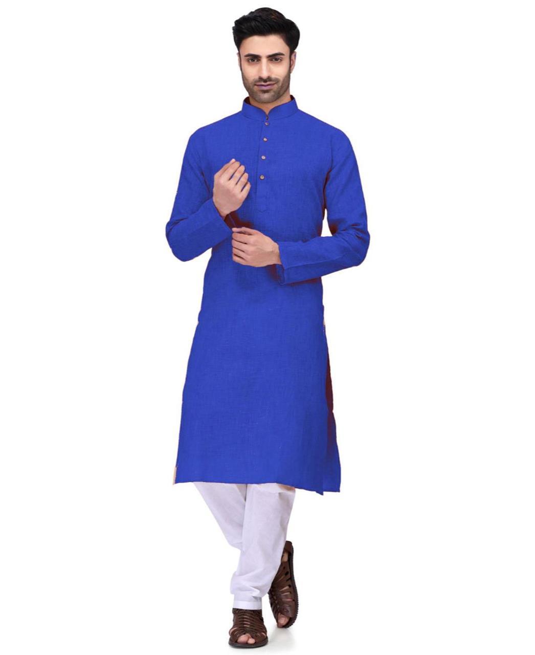 Plain Cambric Cotton Blue Kurta Pajama
