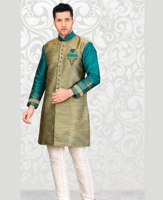 Beads Dupion Silk Brown Mens Sherwani