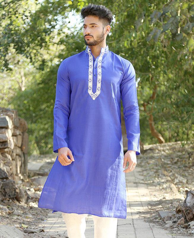 Embroidered Cotton Blue Kurta Pajama