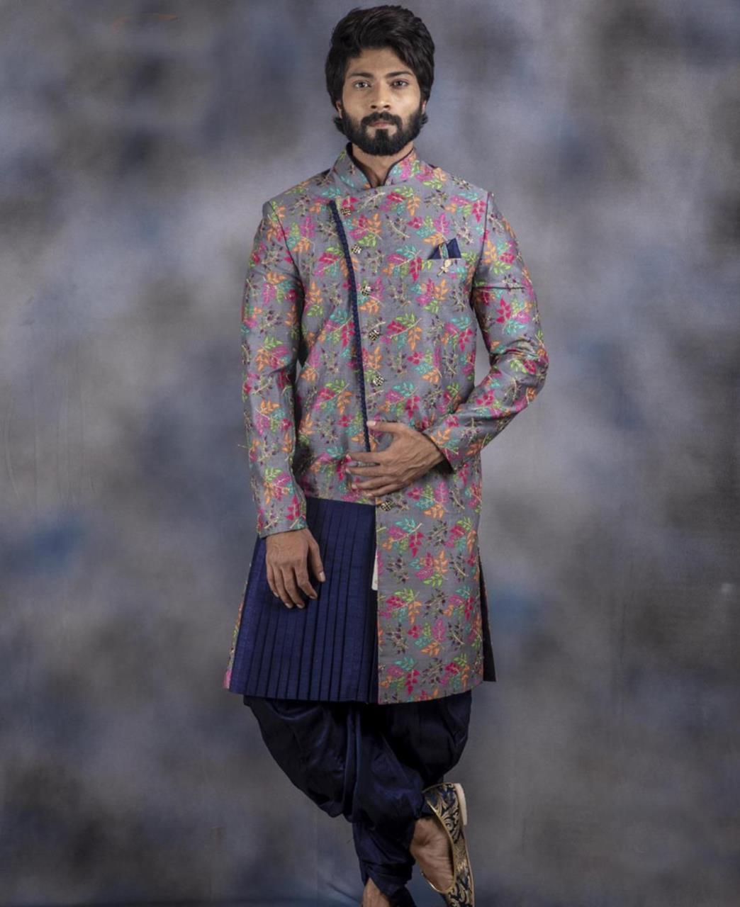 Printed Jacquard Gray Kurta Pajama