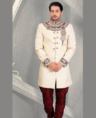 Beads Jacquard Cream Mens Sherwani