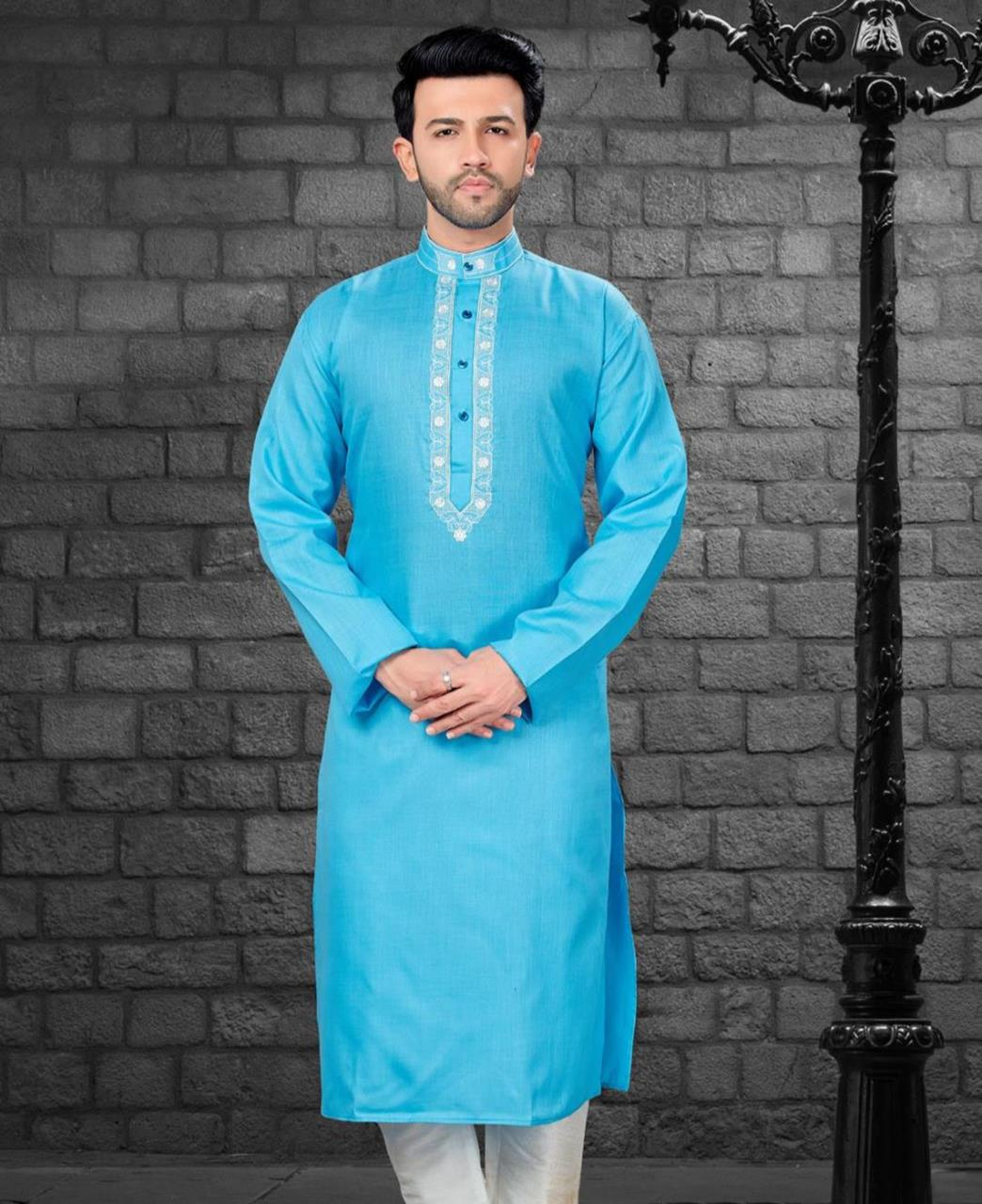 Embroiderd work Cotton Satin SKYBLUE Kurta Pajama