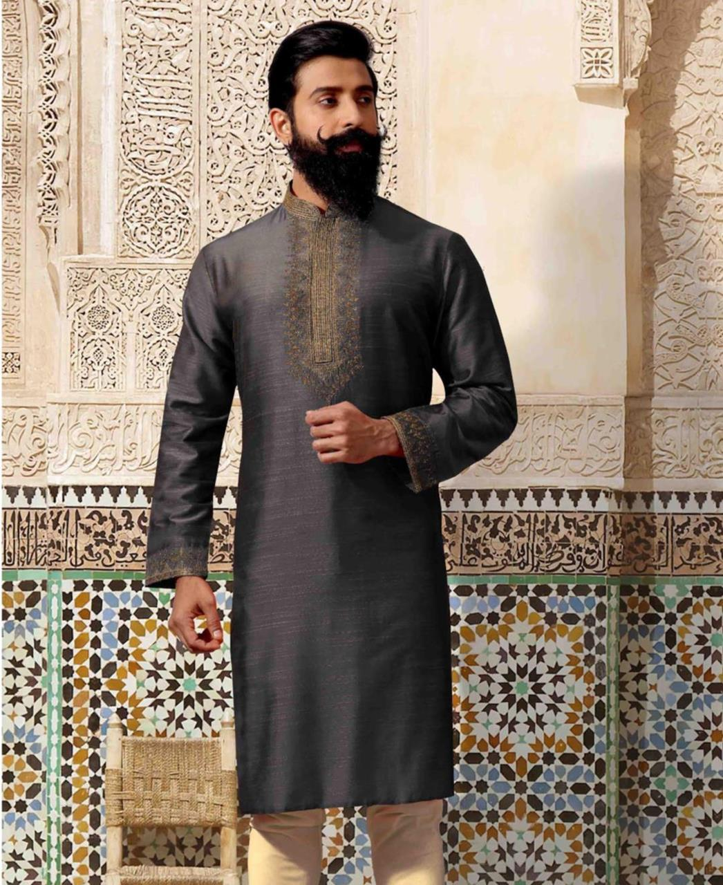 Plain Silk Black Kurta Pajama